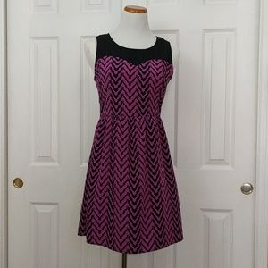 Francesca purple/pink and black Chevron dress